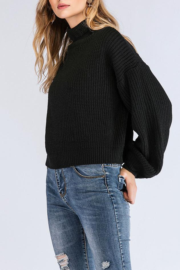 Casual Long Sleeve Black Sweater