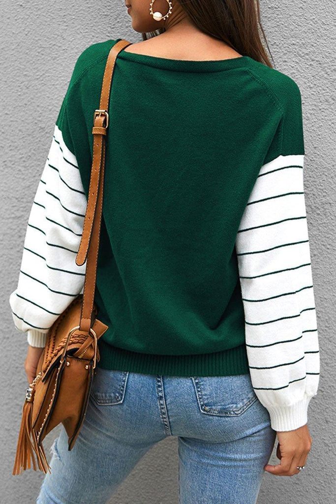 Color-lump Patchwork Green Sweater