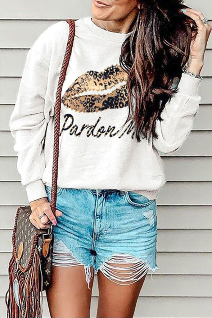 Lip Printed White Sweatshirt