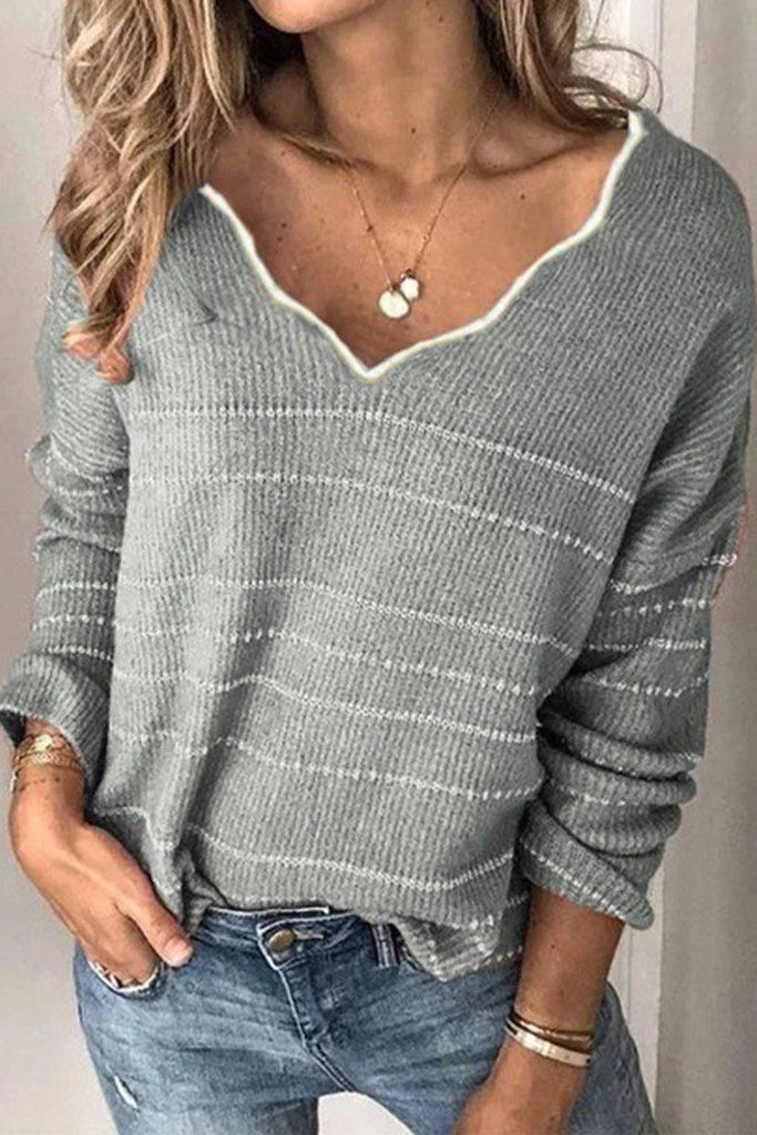 Flounce Design Grey Sweater