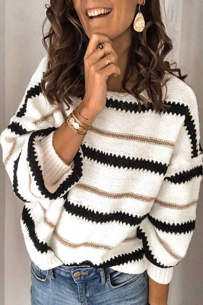 Striped Patchwork White Sweater