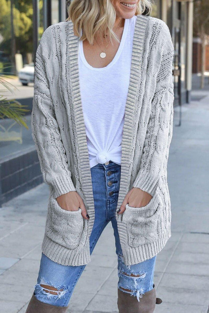 Pocket Patched Light Grey Cardigan