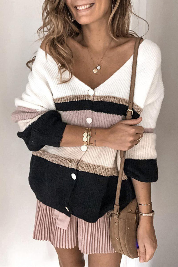 Color-lump Patchwork White Cardigan