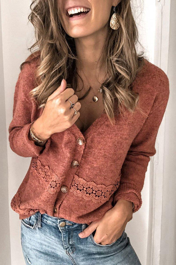 Lace Patchwork Brick Red Cardigan