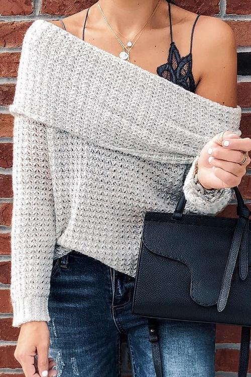 Off-Shoulder Gray Sweater (5 Colors)