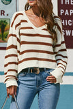 Loose Striped Design Apricot Sweater
