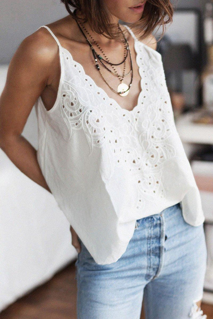 Hollow-Out White Tank Top