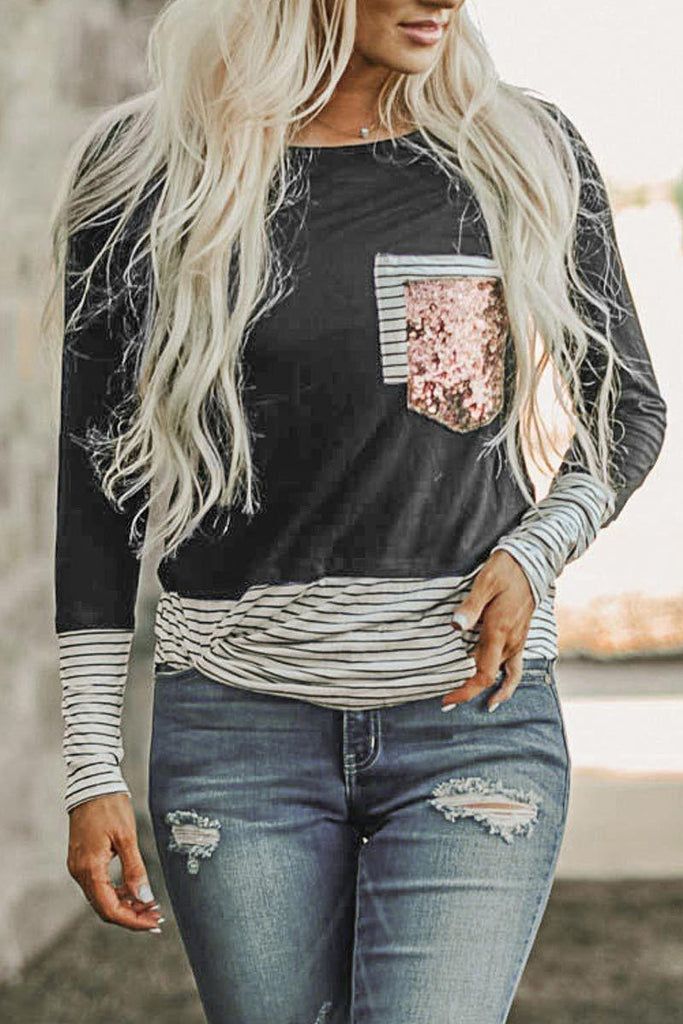 Stripe Casual Sequined Pocket Stylish T-Shirt