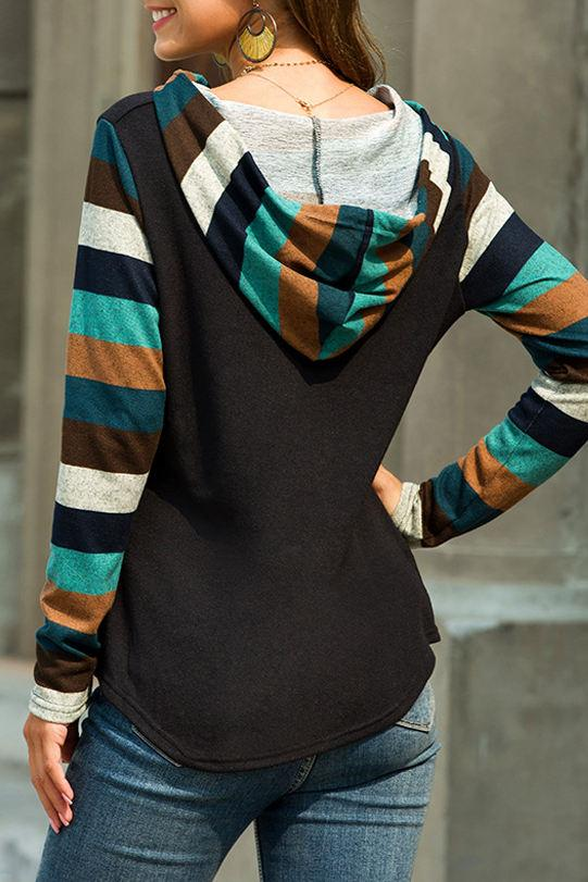 Striped Design Long Sleeve Black Hoodie
