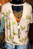 Sunflower Hollow Out Blouse without Necklace