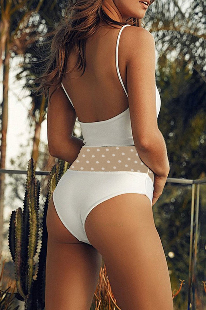 Hollow-Out White One-Piece Swimsuit