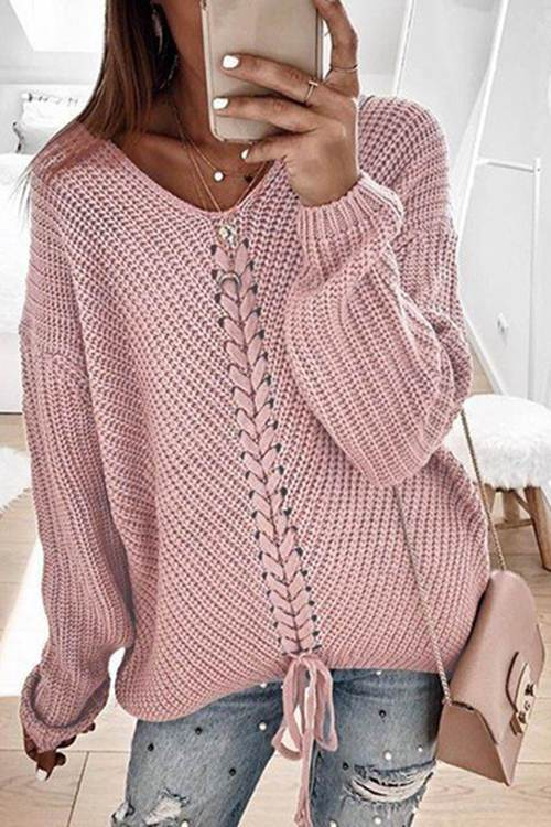 Casual Long Sleeve Pink Sweater 7 Color
