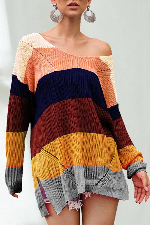 Rainbow Striped Multicolor Sweater