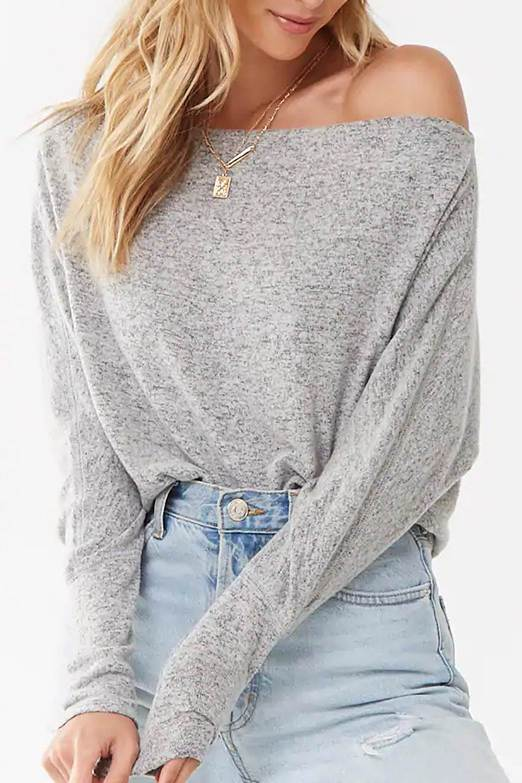 Dew Shoulder Grey Top