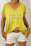 Letter V Neck Printed T-Shirt