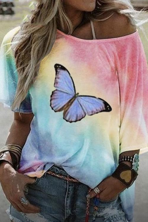 Butterfly Printed Loose T-Shirt