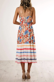 Printed Patchwork Multicolor Midi Dress