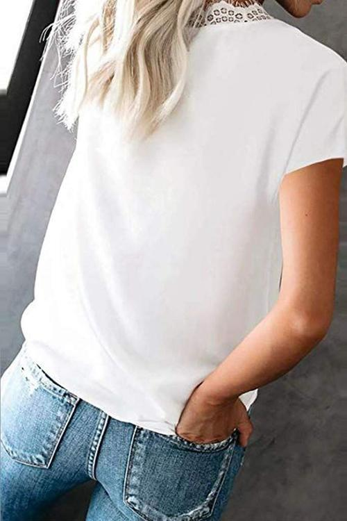 Lace Patchwork Solid T-Shirt