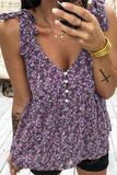 Floral Printed V Neck Tank Top