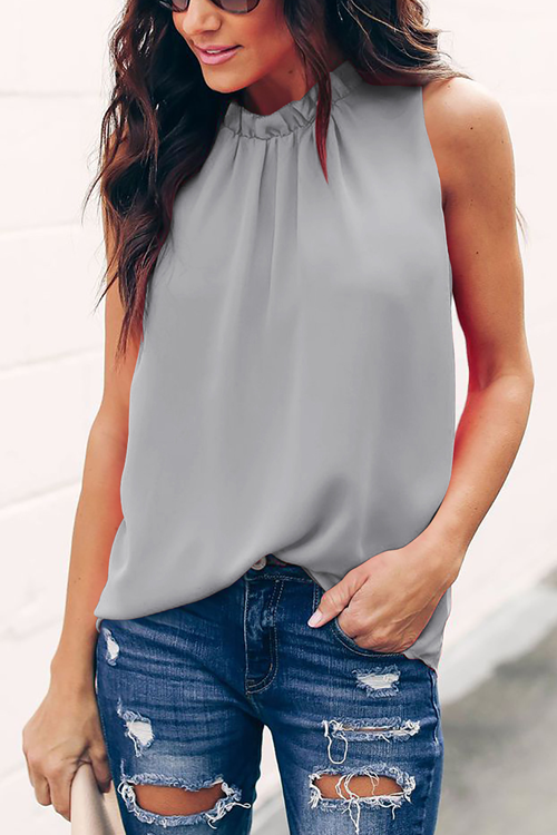 Stylish Solid Casual Tank Top