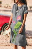 Lotus Printed Round Neck Dress