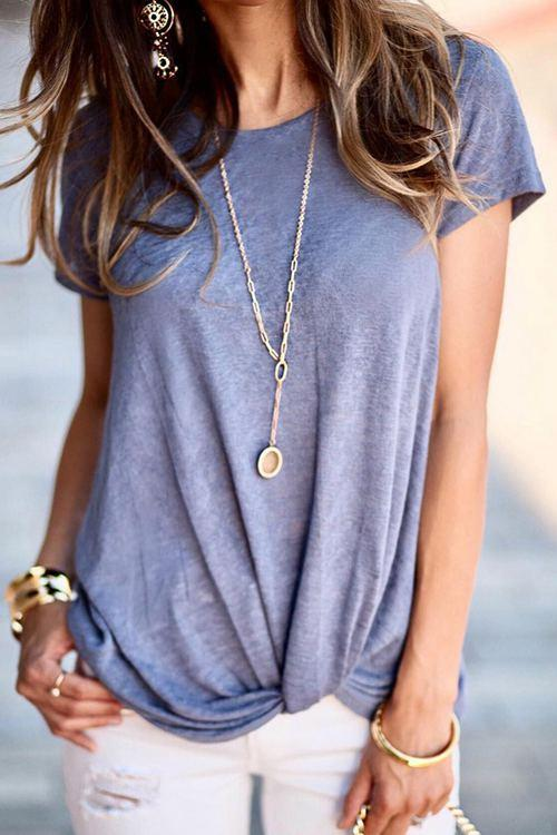 Twisted Front Blouse Solid T-Shirt