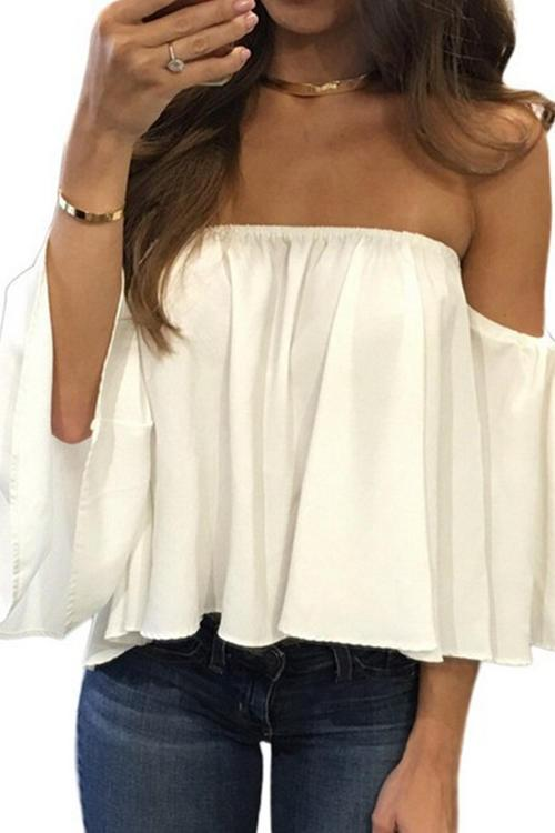 Sexy Strapless Loose-Fitting T-Shirt