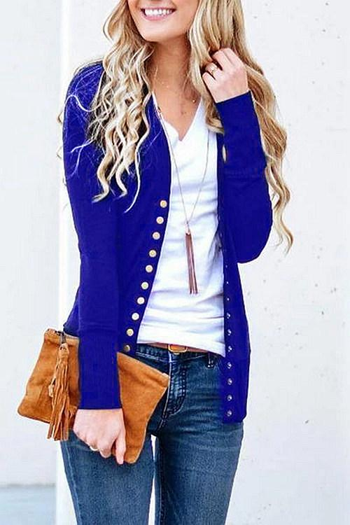 Long Sleeves Buttons Design Cardigan
