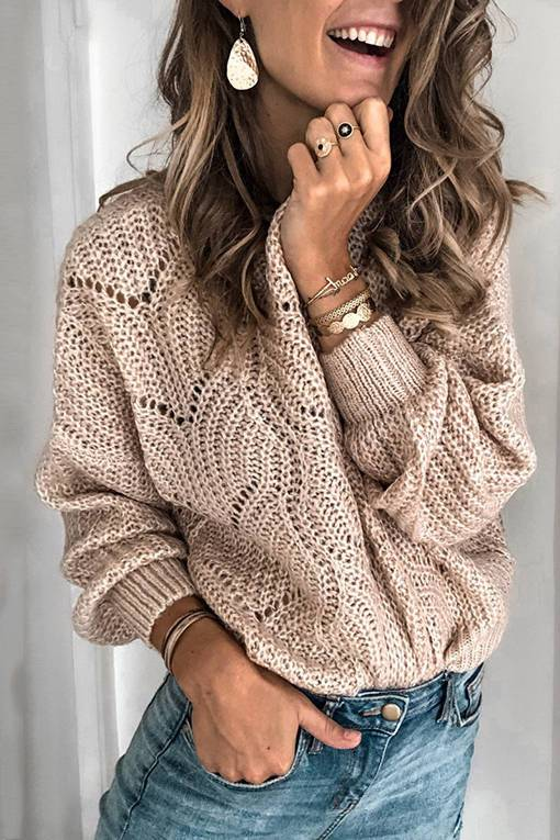 Hollow-out Long Sleeve Sweater