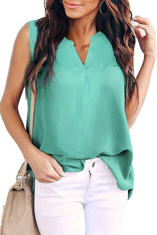 Woven Plain V-Neck Tank Top