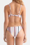 Striped Snap-Fastenerr Sexy Swimsuits