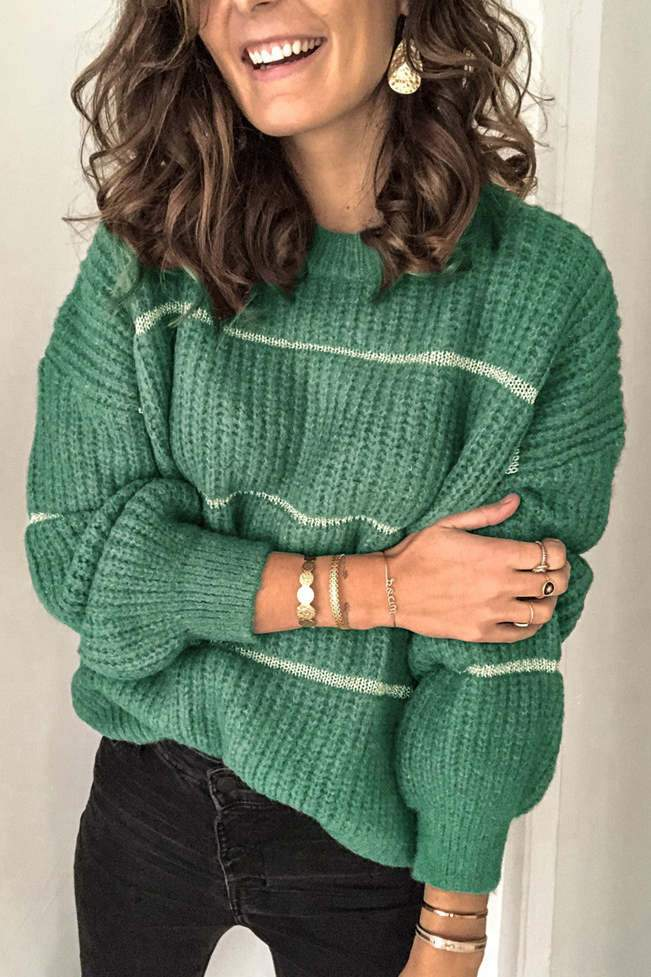 Loose Patchwork Green Sweater