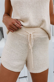 Hollow-Out Knit Solid Romper(Two-Piece)