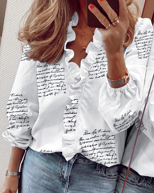 Stylish Printed Stand Collar Long Sleeve T-Shirt