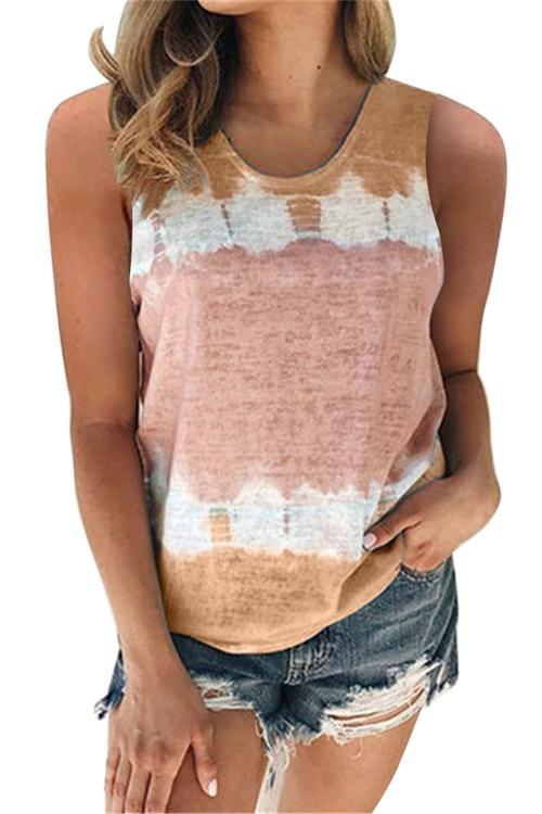 Simple Printed Round Neck Tank Top