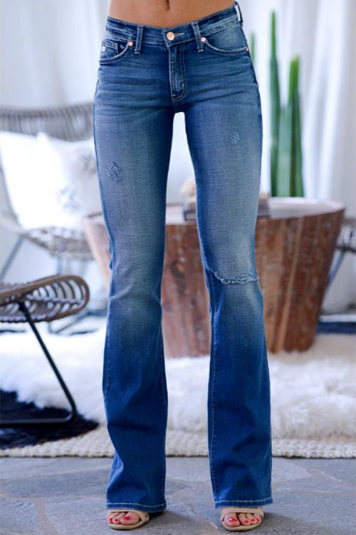 Baby Blue Flared Denim Jeans
