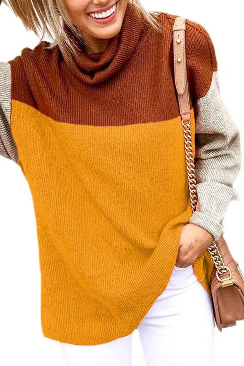 Casual Turtleneck Color-lump Patchwork Sweater