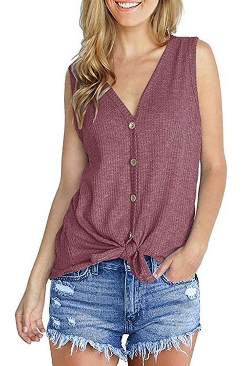 Stylish Knitting Hem Kink Button Design Tank Top