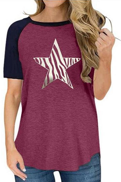 Star Printed Round Neck Casual T-Shirt