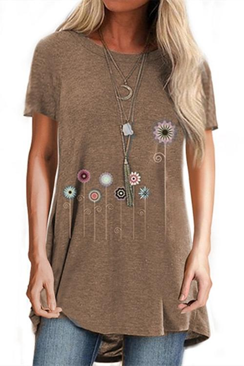 Flowers Printed Round Neck T-Shirt