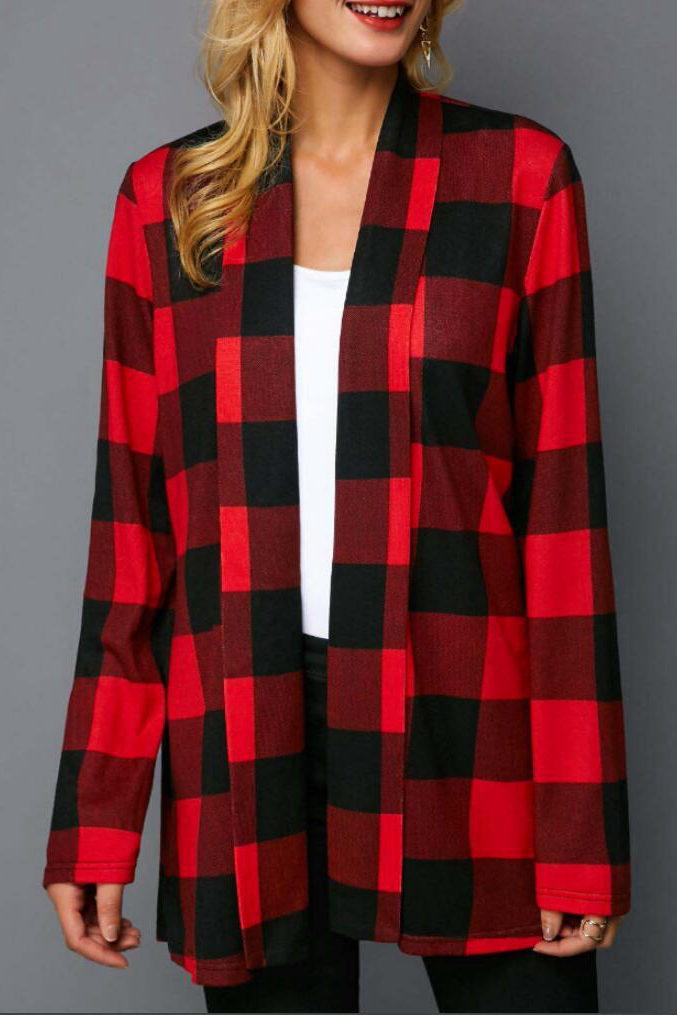 Printed Red Black Grid Long Sleeve Coat