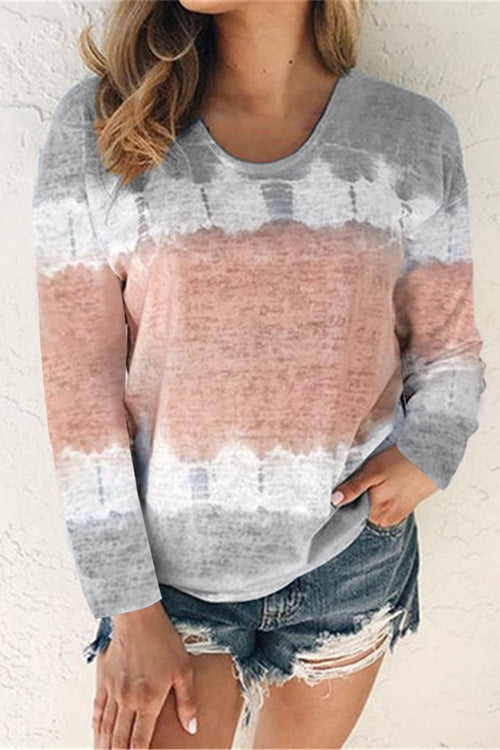 Tie-Dyed Round Neck Long Sleeve T-Shirt