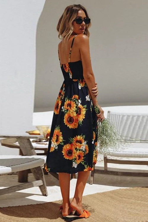 Sunflower pineapple pattern printed suspender button halter sexy dress for women