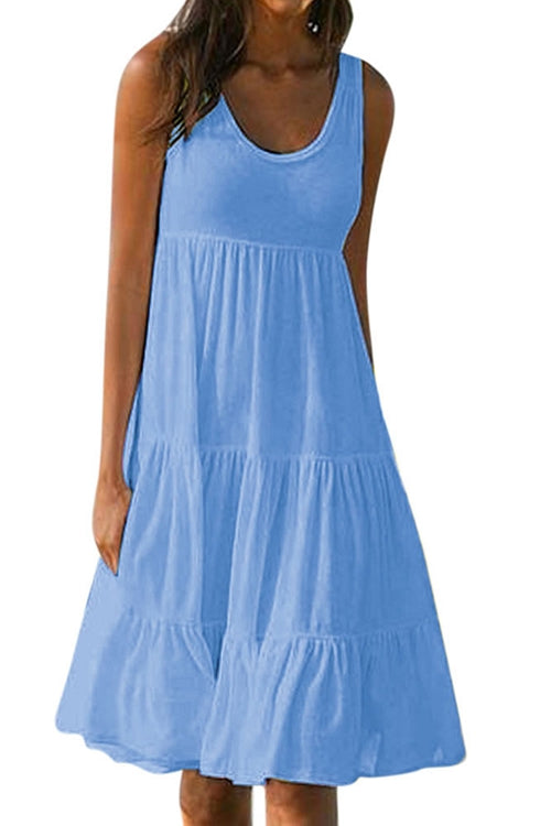 Sleeveless  round neck dress