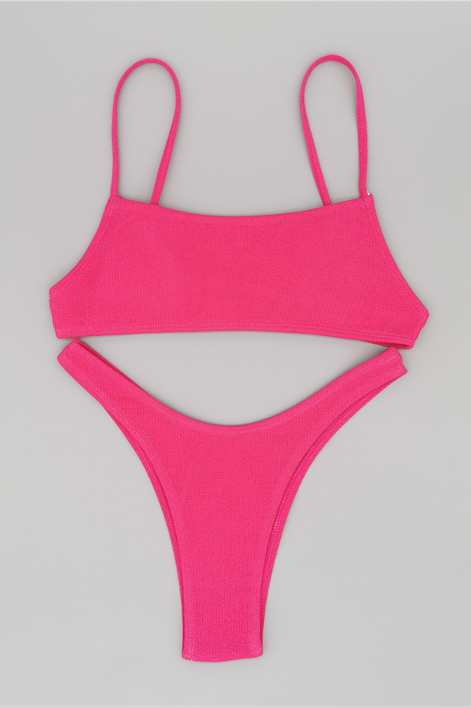 Solid Color Sexy High Waist Swimsuit