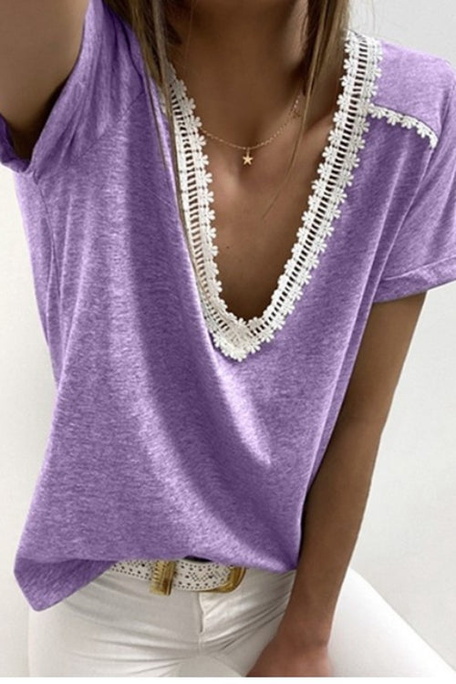 Solid Colored  Patchwork V Neck T-Shirt