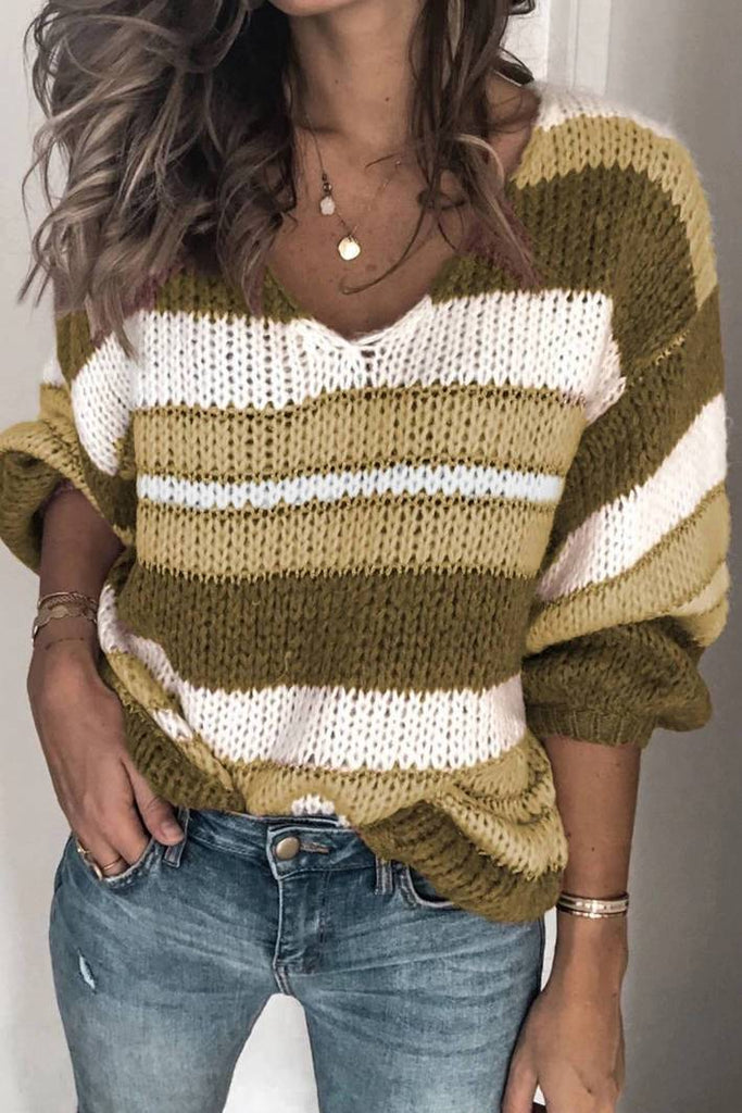 V Neck Multicolor Striped Knitting Sweater