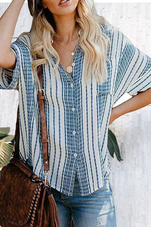 Casual Loose Pocket Striped Shirt
