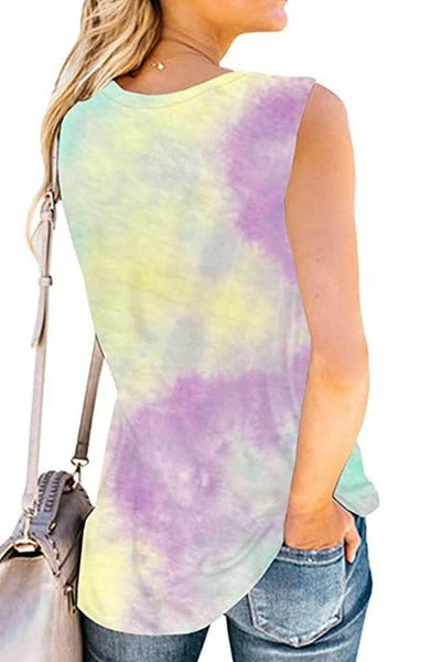 Tie-Dyed Good Vines Rainbow Print T-Shirt