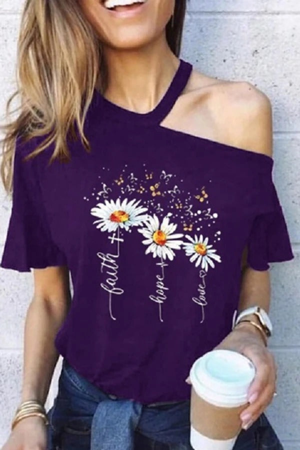 Daisy Printed One Shoulder T-shirt